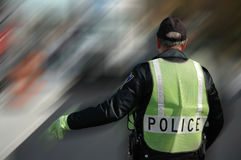 Policeman on Duty. Policeman at the scene royalty free stock photography