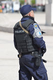 Policeman  on duty at Praca dos Comercio Lisbon Portugal. Royalty Free Stock Images