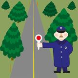 Policeman is on duty on road Stock Images