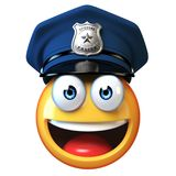 Policeman emoji isolated on white background, cop emoticon 3d rendering. Isolated illstration Stock Photo