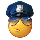 Policeman emoji isolated on white background, cop emoticon 3d rendering. Isolated illstration Stock Photography