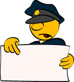 Policeman with empty board. Vector illustration Stock Images