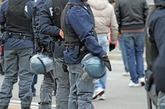 Policeman while they escorted the fans at the stadium Stock Photos