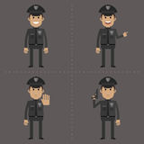 Policeman fat shows in different poses Royalty Free Stock Photography
