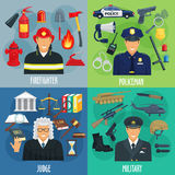 Policeman, firefighter, military, judge icon set. Profession icon set of policeman, firefighter, military and judge. Cartoon men in uniform with tool, equipment Stock Photography