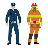 Policeman and Fireman cartoon icon. Service 911. Policeman and Fireman flat icon. Service 911. Cartoon Vector illustration Royalty Free Stock Photo