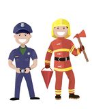Policeman and fireman. Colored characters Royalty Free Stock Photography