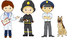 Policeman, fireman and doctor in their uniform Stock Photos
