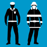 Policeman and Fireman flat icon. Service 911. Vector illustratio. Policeman and Fireman flat icon. Service 911. Silhouette Vector illustration Stock Photo