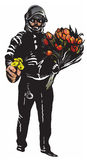Policeman with flowers, gentle hero - freehand, vector Royalty Free Stock Photos