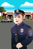 Policeman in front of police station Royalty Free Stock Photo