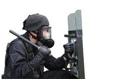 Policeman in a gas mask Stock Images