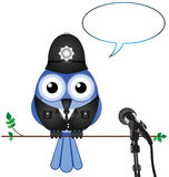 Policeman giving interview Royalty Free Stock Photos