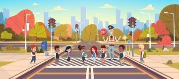 Policeman Guard Help Group Of School Children Crossing Road. Flat Vector Illustration Stock Photo