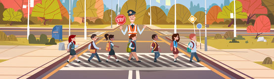 Policeman Guard Help Group Of School Children Crossing Road. Flat Vector Illustration Royalty Free Stock Photos