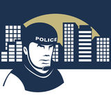 Policeman guards the city Royalty Free Stock Photo