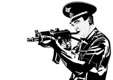 A policeman with a gun. The illustration on military issues. A man in uniform ready to fire from automatic weapons Royalty Free Stock Photo