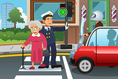 Policeman Helping Grandma Crossing the Street Royalty Free Stock Image