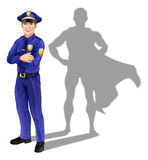 Policeman Hero. Hero policeman concept, illustration of a confident handsome policeman or police officer standing with his arms folded with superhero shadow Stock Illustration