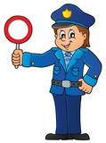Policeman holds stop sign theme 1 Royalty Free Stock Image