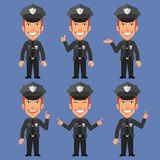 Policeman Indicates and Shows vector illustration