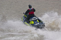 Policeman on a jet skis. Royalty Free Stock Images