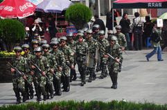 Policeman at the Lhasa ,Tibet Royalty Free Stock Photos