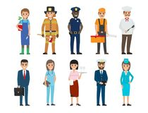 Policeman, Lifesaver, Mariner, Cook, Stewardess. Policeman and lifesaver, mariner and cook, stewardess and doctor, manager with briefcase, builder and gardener Stock Image