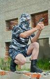 Policeman in mask 11 Stock Photos