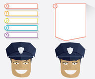 Policeman and message boards Stock Photography