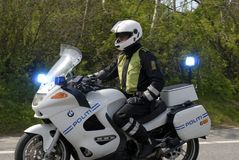 Policeman on motorcycle Stock Photo