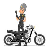 Policeman motorcycle adjusts glove bike icon isolated cartoon character design vector illustration Stock Image