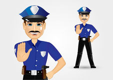Policeman with mustache showing stop gesture Royalty Free Stock Photos