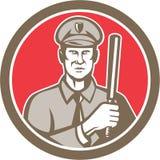 Policeman With Night Stick Baton Circle Retro Stock Image