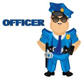 Policeman is officer. Happy policeman stand with blue word officer stock illustration