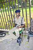 Policeman pays attention in the Red Fort Stock Photography