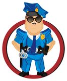 Policeman peek up from sign. Smiling policeman peek up from red road sign Royalty Free Stock Image