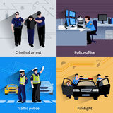 Policeman People 2x2 Design Compositions. Of traffic police  criminal arrest police office and firefight flat shadow vector illustration Stock Image