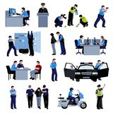Policeman People Flat Color Icons Royalty Free Stock Photos