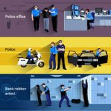 Policeman People Horizontal Banners. Police horizontal banners of policeman people in office and outdoor and at bank robber arrest flat shadow vector Royalty Free Stock Photography