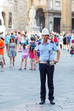 Policeman on the Piazza della Signoria in Florence Royalty Free Stock Photography
