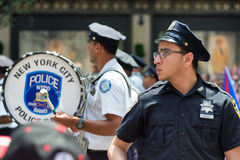 Policeman and police band during Puerto Rican parade on  the 5th avenue Stock Images