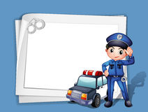 A policeman beside a police car Royalty Free Stock Image