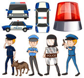 Policeman and police cars Royalty Free Stock Photo