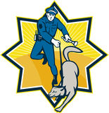 Policeman Police Dog Canine Team. Illustration of a policeman police officer with trained police guard dog canine team viewed from front set inside star shape stock illustration
