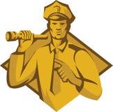 Policeman Police Officer Flashlight Retro Stock Images
