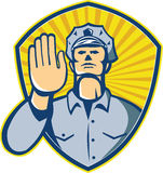 Policeman Police Officer Hand Stop Shield Royalty Free Stock Image