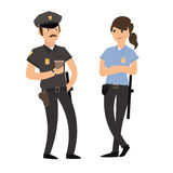 Policeman and Policewoman in Uniform. Vector Stock Photography