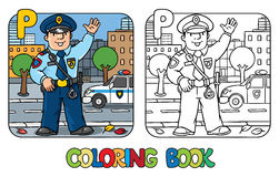 Policeman. Profession ABC coloring book Alphabet P. Coloring picture or coloring book of funny policeman in uniform. Profession ABC series. Children vector Stock Images