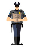 Policeman with a report of a standing ovation Royalty Free Stock Photography